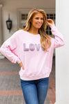 Saturday School Retro Love Sweatshirt- Pink
