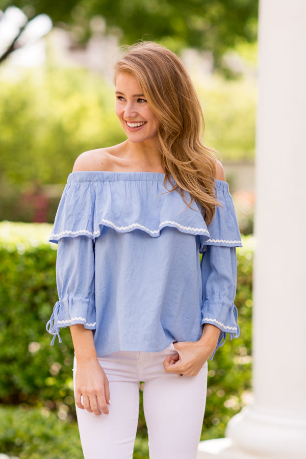 Tie The Knot Top - Light Blue
