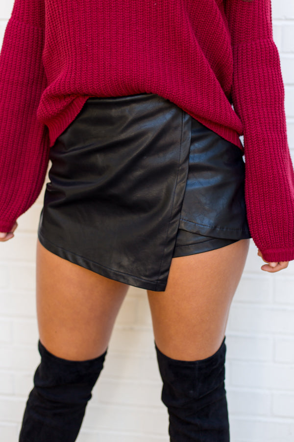 Clutch Leather Skort- Black
