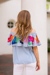 The Maya Off The Shoulder Top - Light Blue