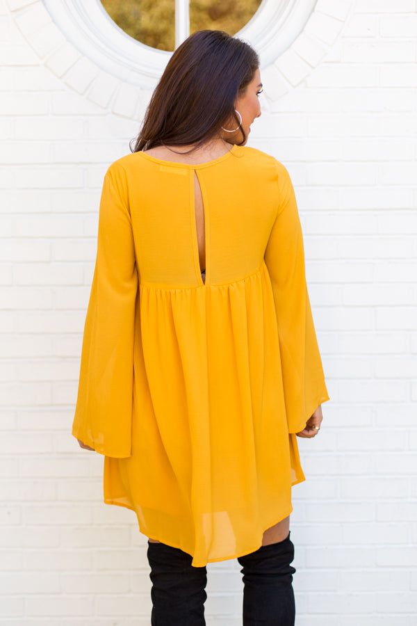Belle Babydoll Dress- Mustard