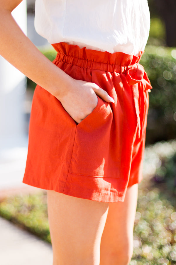 Paperbag Play Shorts- Orange Red