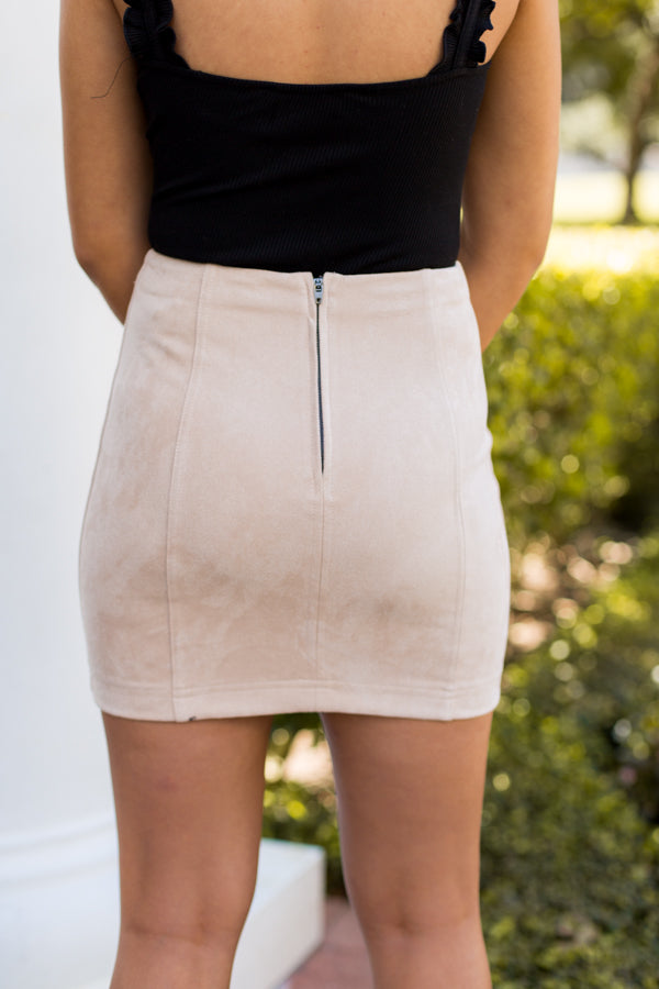 Stay Neutral Suede Skirt- Beige
