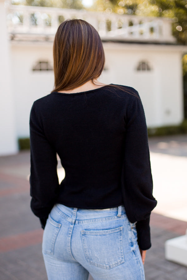 Hey There Crop Sweater - Black