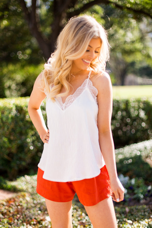 Textured Tease Tank- White