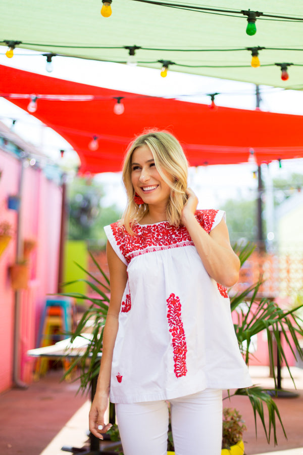 The Melissa Top- White & Red
