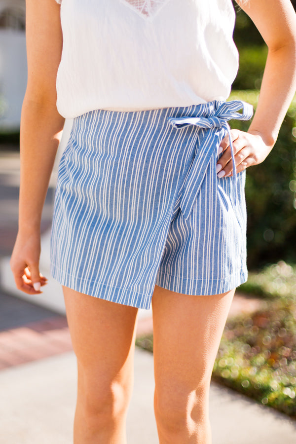 Seaside Striped Skort- Blue