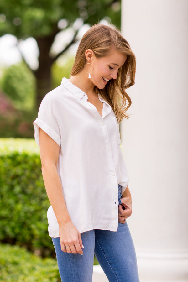 Sail Away Button Up Top- Off White