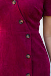 Cordial In Corduroy Dress- Burgundy