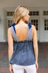 Pretty In Pinstripes Top- Navy