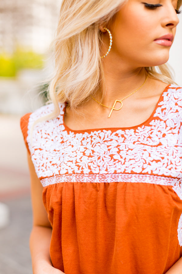 The Rainey Top- Burnt Orange