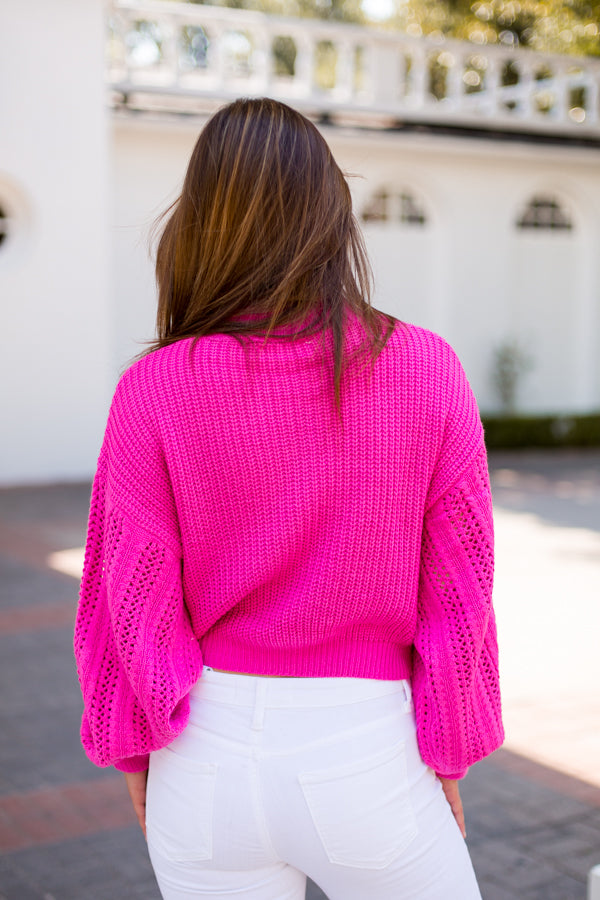 Roller Rink Ready Sweater - Hot Pink