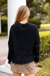 Distressed Out Sweater- Black