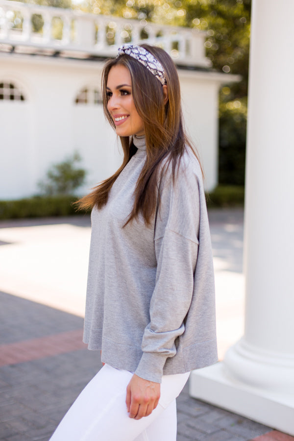 Out Of My Shell Turtleneck Sweater - Grey