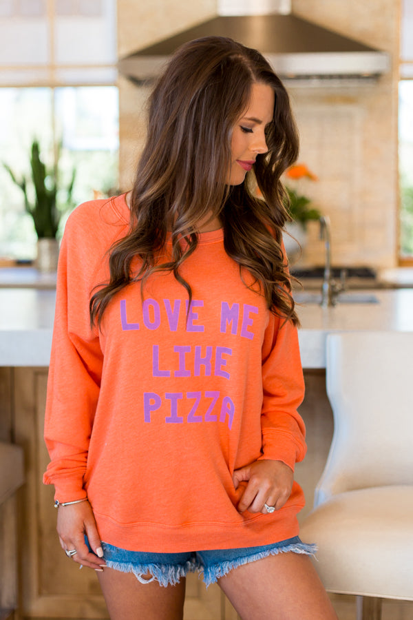 Wildfox Love Me Like Pizza Sommers Sweater- Flame