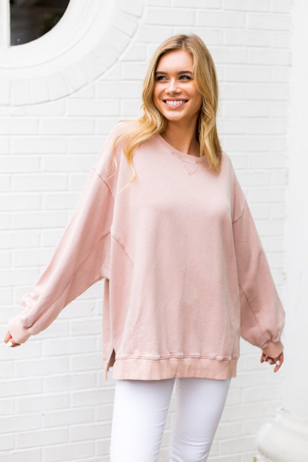 Days In Oversized Sweatshirt- Mauve