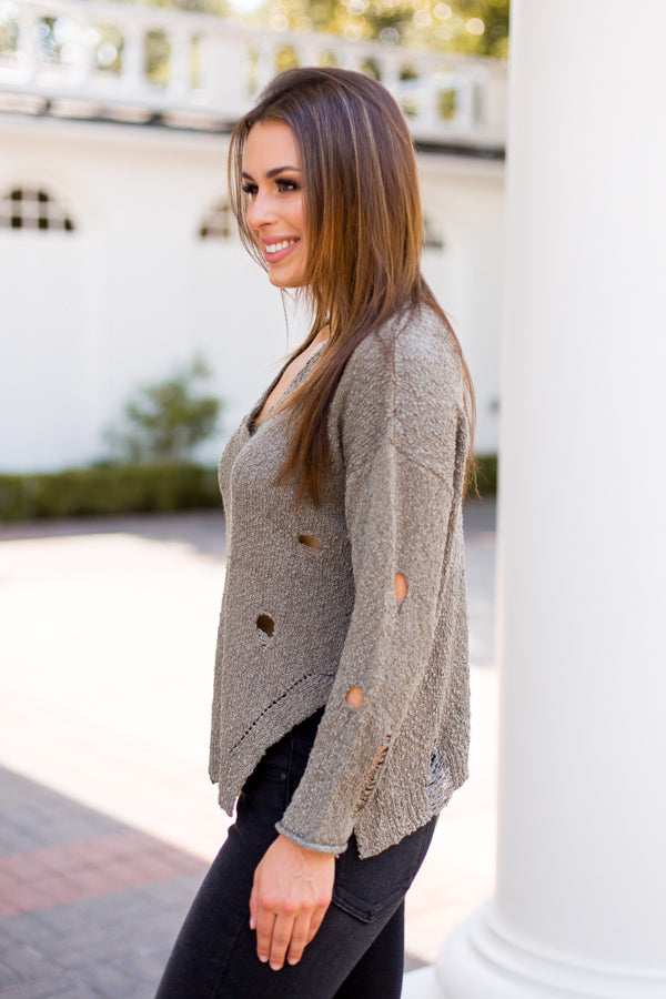Damsel In Distressed Sweater - Olive