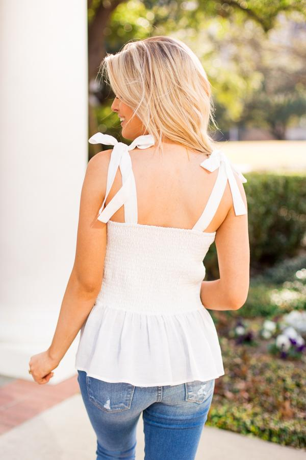 The Mckenna Tie Top- White