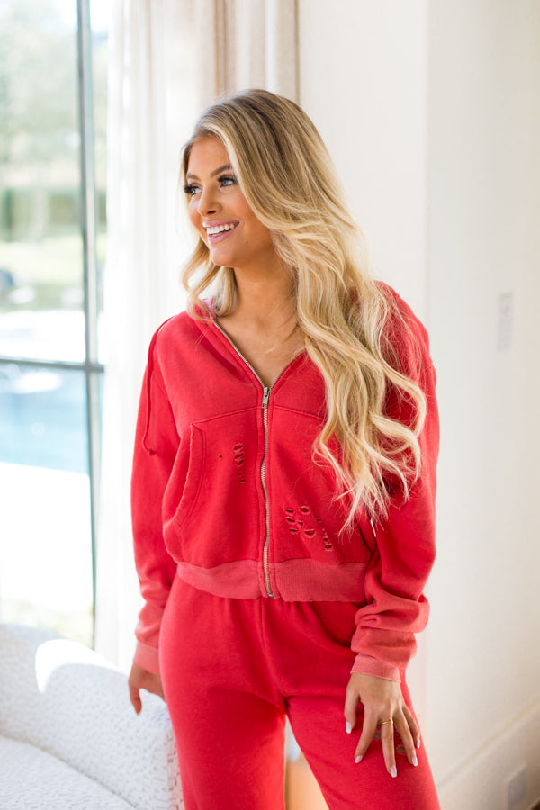 Wildfox Destroyed Regan Zip Hoodie- Poppy