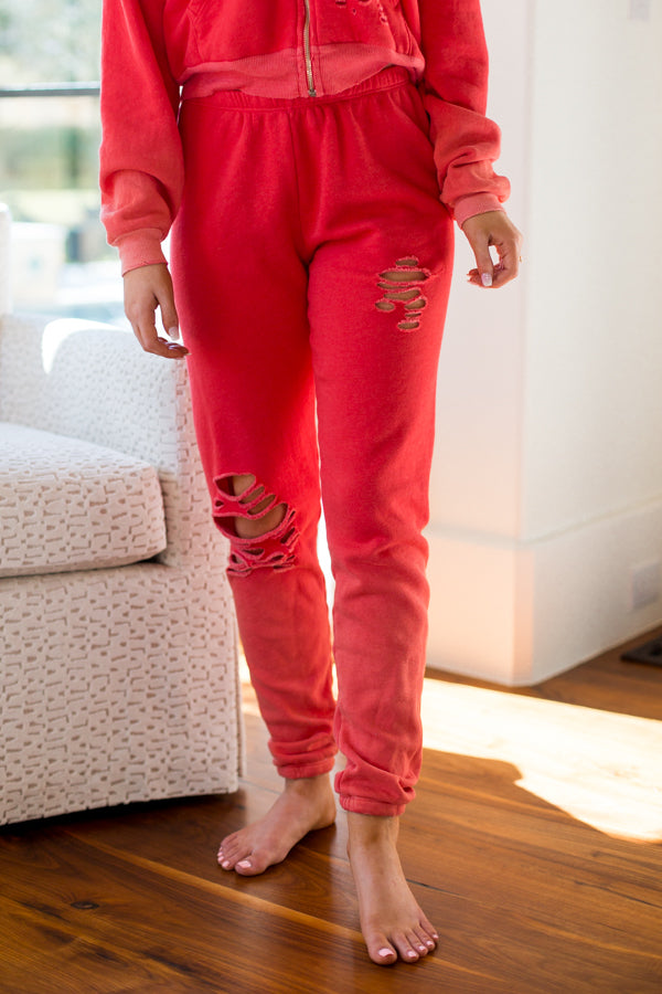 Wildfox Thrashed Knox Pants- Poppy