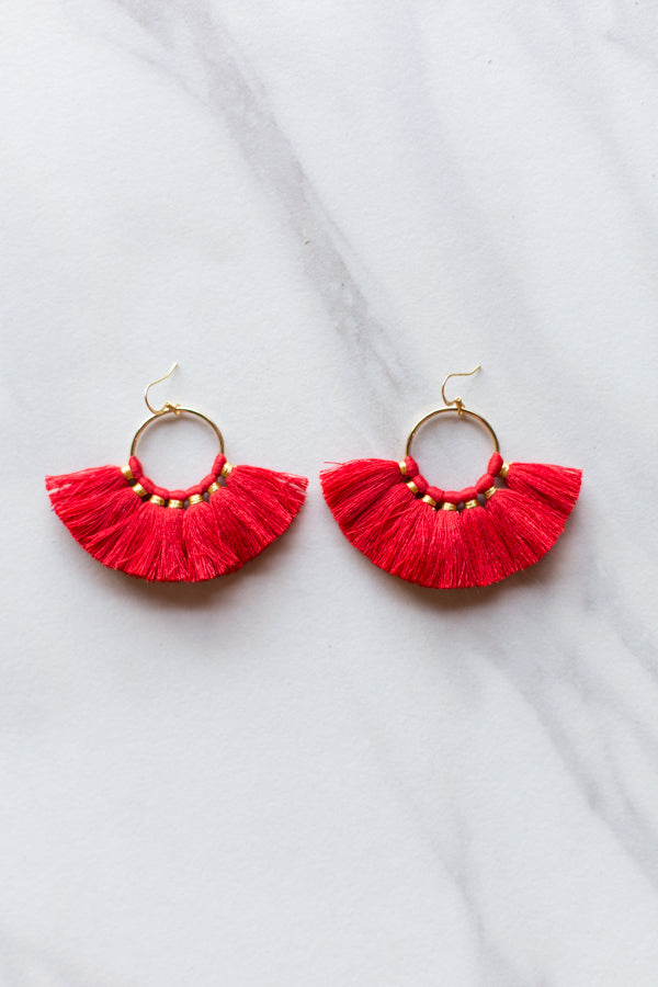 Small Fanfare Earrings- Red