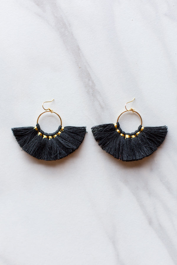 Small Fanfare Earrings- Black