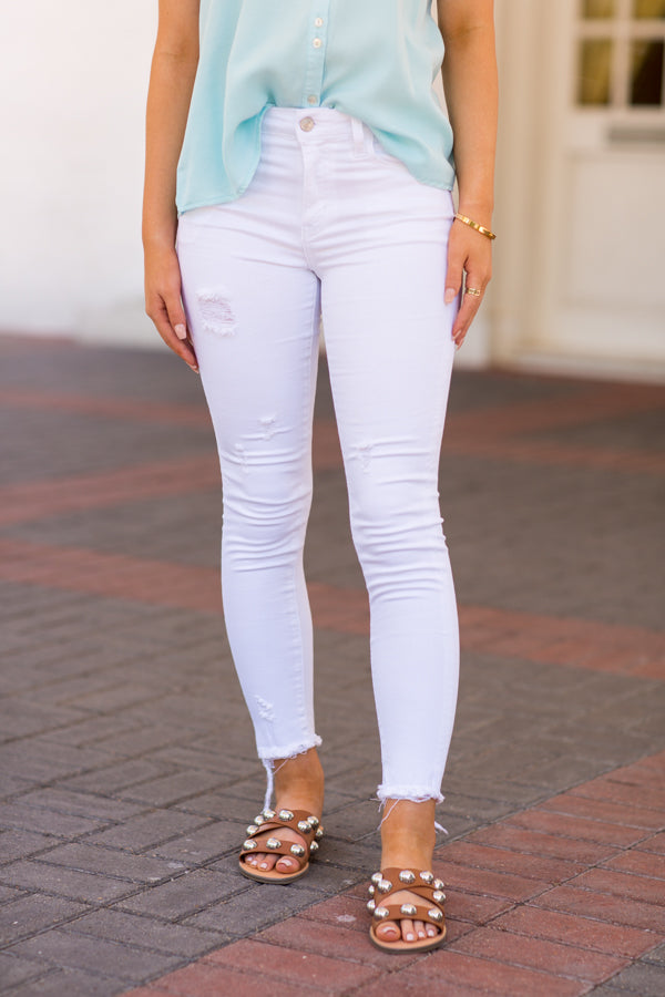 Summer Skinny Jeans- Distressed White