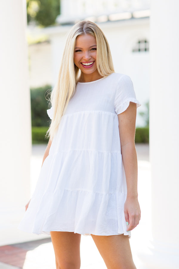 Earth Angel Babydoll Dress- White