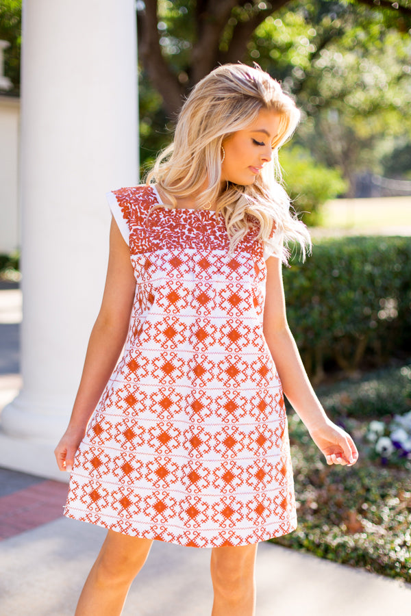 The Brenda Dress- Burnt Orange