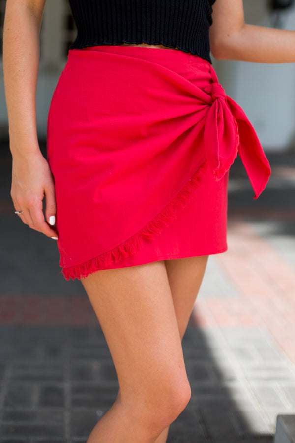 Frayed Linen Wrap Skirt- Red