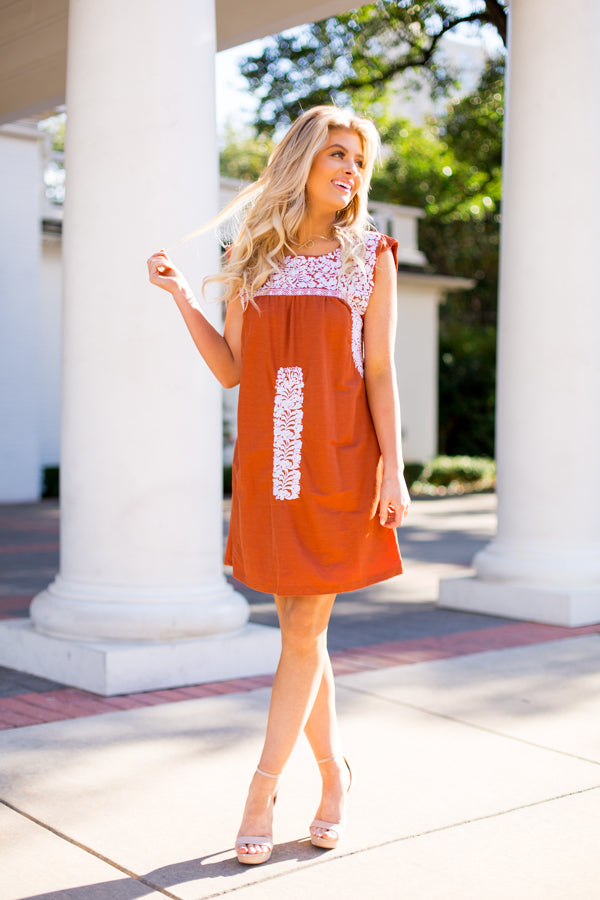 The Rainey Dress- Burnt Orange