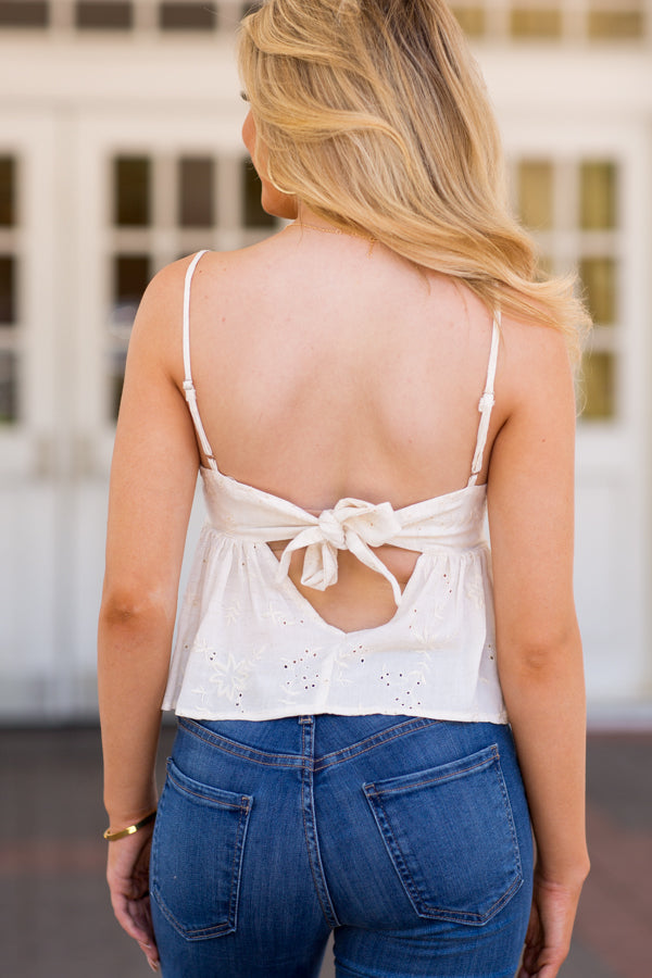Easy Choice Eyelet Top- Ivory