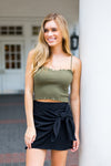 Frill Edge Crop Top- Olive
