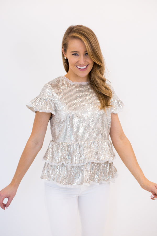 Glitz & Glam Sequin Top - Silver