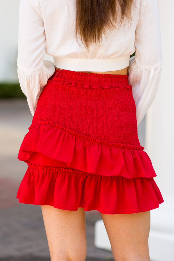 Cinch & Shout Skirt- Red