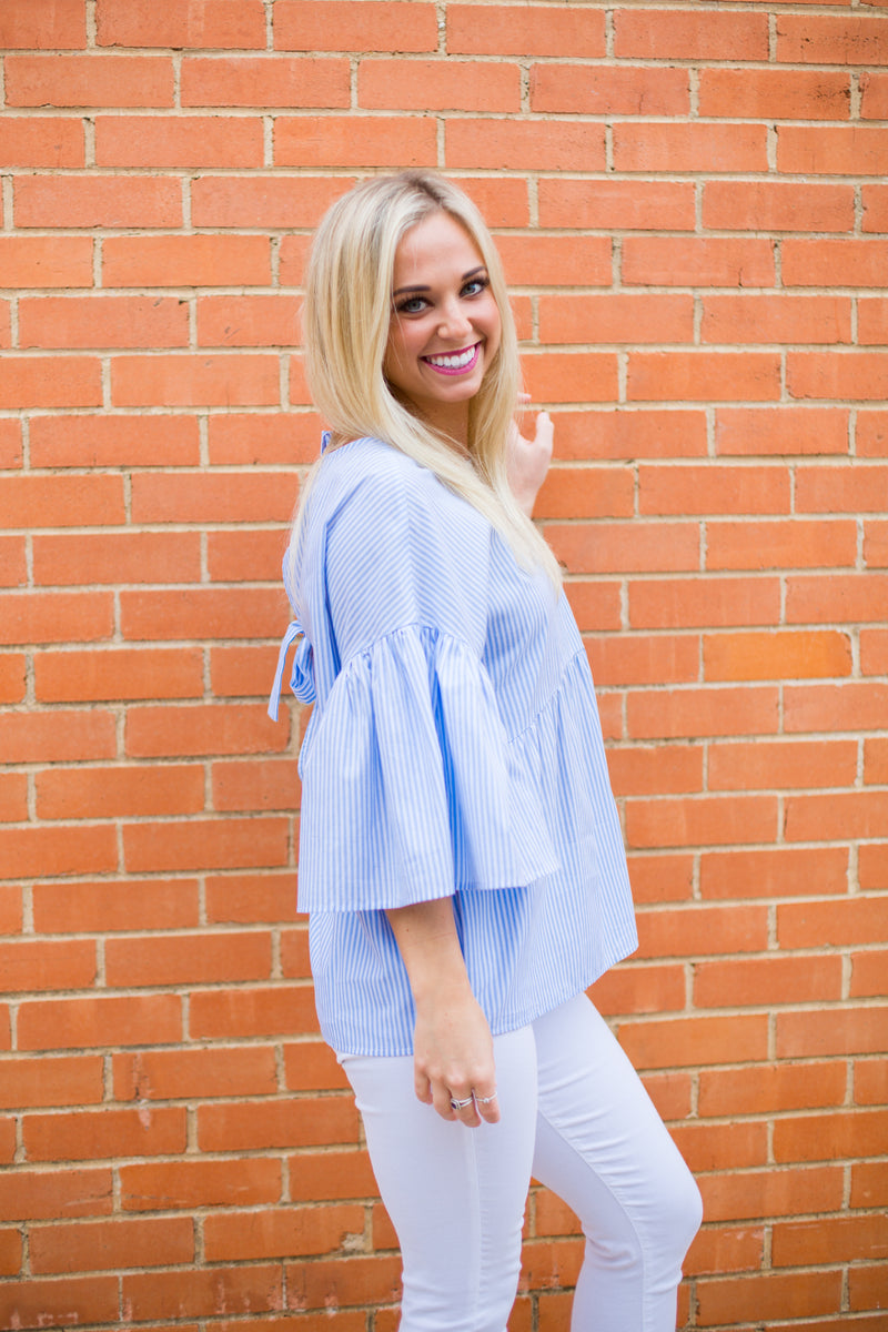 Stripe It Back Tie Top - Light Blue