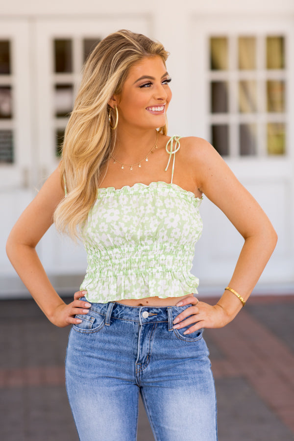 Grass Is Greener Crop Top- Limeade