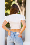 Walk The Line Crop Top- White