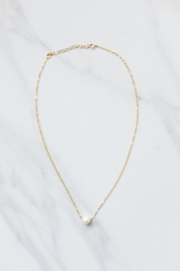 Single Pearl Necklace- Gold