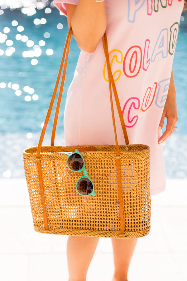Poolside Basket Tote- Tan