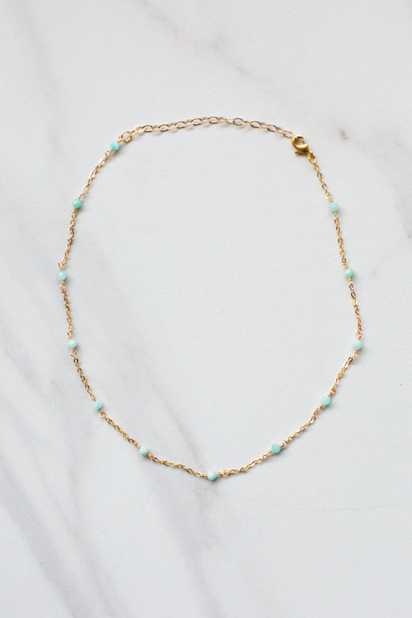 Teal Time Beaded Choker