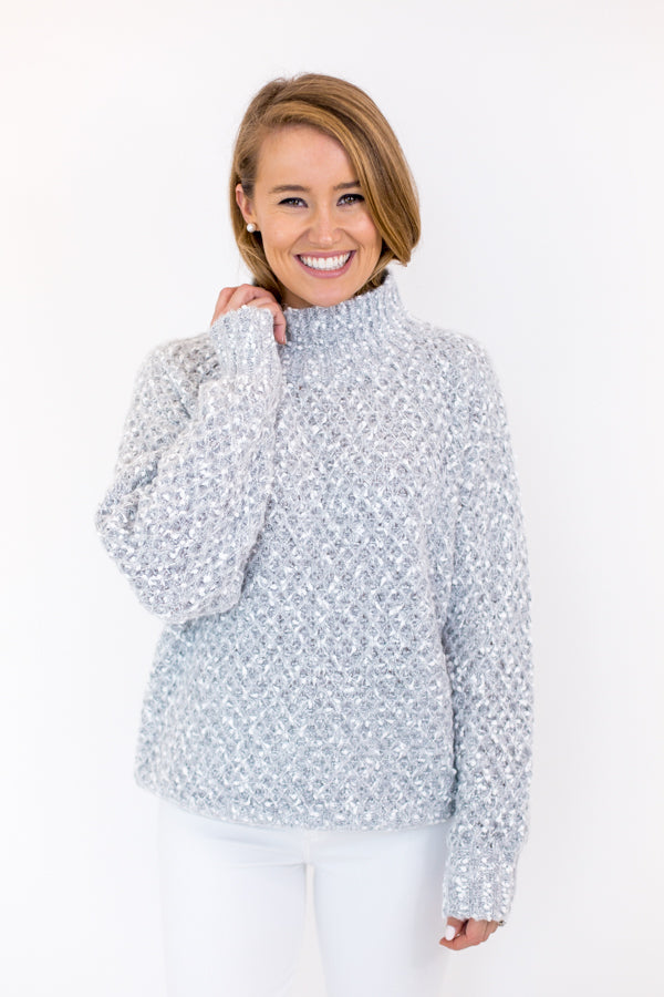 Snowflake Kisses Sweater - Light Grey