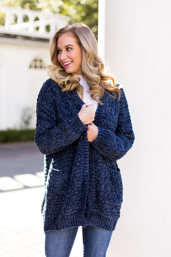 Chenille At Midnight Cardigan- Navy