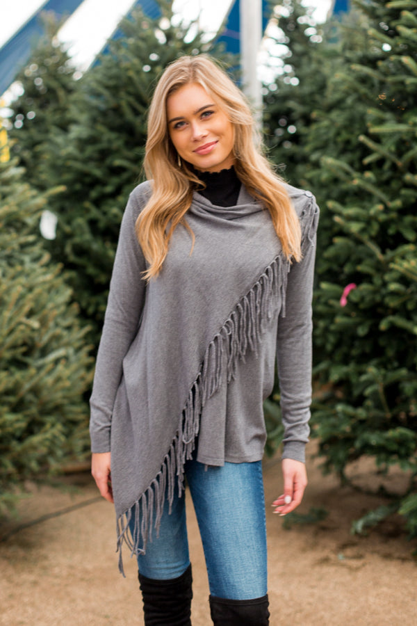 Spirit Scarf Top- Charcoal
