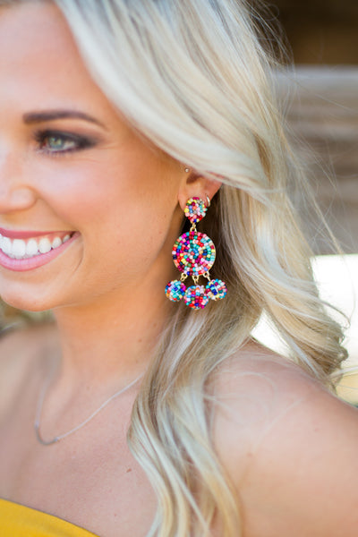 Gumball Beaded Earrings - Rainbow
