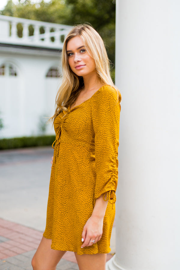 Cheetah Print Dress- Mustard