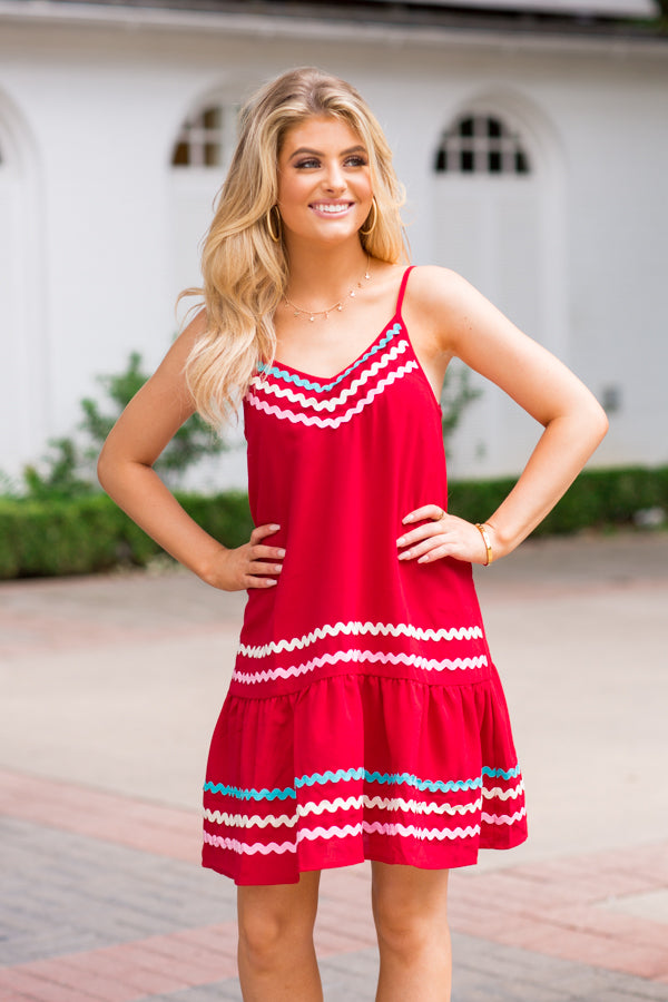 Rockin' Ric Rac Dress- Crimson