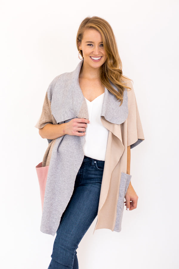 Perfectly Patched Colorblock Cardigan - Heather Grey