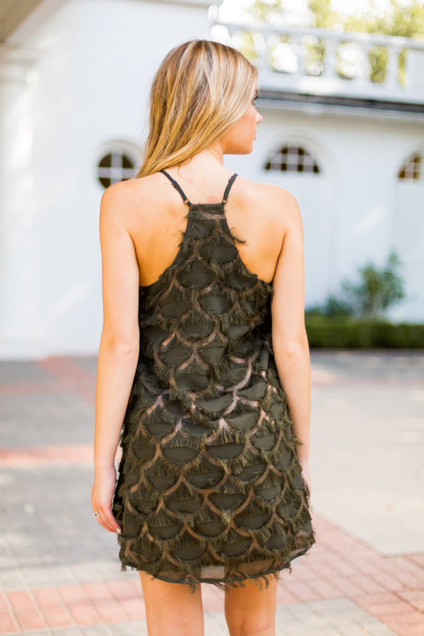 Flowy Feathers Dress- Olive & Bronze