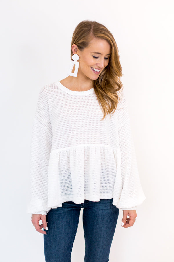 Cozy Mornings Knit Top - Ivory